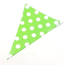 Wholesale Paper Pennant - Wholesale- baby shower supplies cartoon polka dots bunting boy girl wedding decoration paper flags kids happy birthday party pennants 2.5m