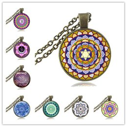 Wholesale Namaste Necklace - Mandala Necklace Om Symbol Pendant Glass Cabochon Fashion Jewelry Namaste Choker Yoga Neckless Women Meditation Jewellery Hinduism Necklace