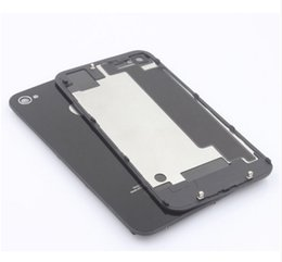 Wholesale Iphone 4s Back Housing Black - New Back Battery Housing Cover Glass Replacement for iPhone 4G 4S - BLACK with dhl free shipping