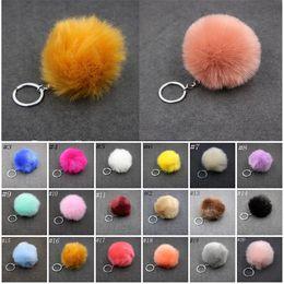Wholesale Purple Finder - Lovely Fluffy Rabbit Ear Fur Ball Key Chain Rings Pendant Cute Pompom Faux Rabbit Fur Keychain Women Car Bag Key Ring C95Q