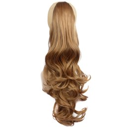 Wholesale Hairpieces For Black Women - Wholesale- 24'' Synthetic Ponytails Clip In Drawstring Hairpiece Natural Claw Ponytail False Hair Extension For Women