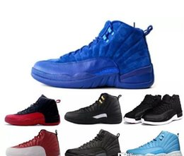 Wholesale Blue Suede Leather Boots - 2017 Retro 12 ovo Premium Deep Royal Blue Suede 12s Wool Black Nylon Gym red French Gamma Blue Bronze Taxi Sneakers Boots
