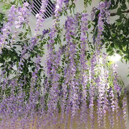 Wholesale Wedding Centerpieces Prices - 110CMTall Wisteria artificial flower in purple white green plant for Wedding Centerpieces event or party garden decoration wholesale price