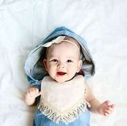 Wholesale Free Infant Diapers - INS baby girl infant toddler Romper Denim With Hat Romper diaper covers bloomers Ruffles headwrap cotton Free Shipping A08