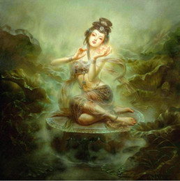 Wholesale Lotus Flower Framed Art - Framed Gansu province Dunhuang fairy with lotus flowers,100% Handcrafts Art Oil painting On High Quality Canvas,Multi sizes Available DH062