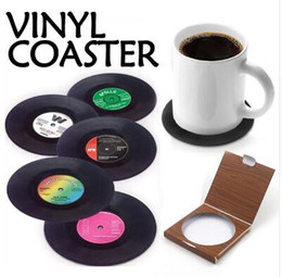 Wholesale Table Mat Coaster Sets - 6 Pcs set Home Table Cup Mat Creative Decor Coffee Drink Placemat Spinning Retro Vinyl CD Record Drinks Coasters