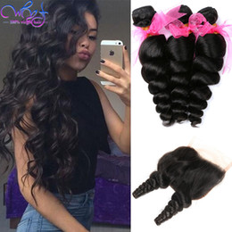 Wholesale Wavy Hair Part - Mink Peruvian Loose Wave Hair With Lace Closure 3 Bundles Loose Wave Virgin Hair Weave Wet and Wavy Peruvian Human Hair Bundle Deals