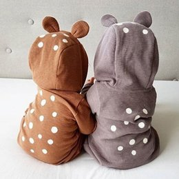 Wholesale Christmas Newborn Outfit Boy - Bear Rompers Baby Hoodies Newborn Boys Girls Jumpsuits Long Sleeve 95% Cotton Spring Autumn Winter Outfit 6-24M