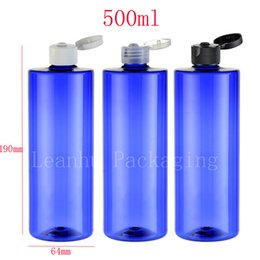 Wholesale Screw Top Empty Container - 500ml x 10 round blue empty cosmetic packaging containers PET with flip top cap,500cc shampoo plastic bottles with screw caps