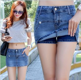 Wholesale Hot Denim Skirt - Denim Shorts Skirts Jeans Blue Summer Hot Shorts Women'S Sexy Slim Hip Blue Shorts Fashion Short Femme