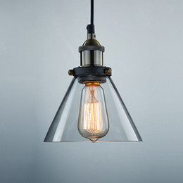 Wholesale Hotels Island - Wholesale 7.2 X 5.1 Inch Vintage Industrial Ceiling Lamp Clear Glass pendant lighting for kitchen island Loft Shade Fixture Christmas Deco