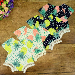 Wholesale Baby Girl Dots Jumpsuit - 2017 Babies Lace Tassel Rompers Bebe Print Pineapple Dots Jumpsuits Childrens Summer Fashion Romper Girls Clothing