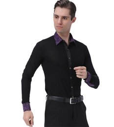 Wholesale Ballroom Dance Fashion - Hot Sale Fashion Men's Shirts Adult Latin Tango Samba Dance Apparel Modern Waltz Trophy Lapel Long Sleeve Print Shirt Shirt Costume
