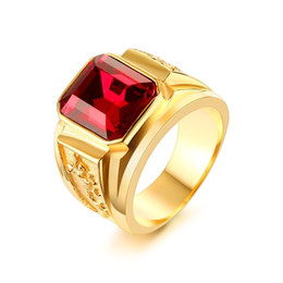 Wholesale Gold Stone Ring For Men - Meaeguet CZ Stone Rings For Men Women Stainless Steel Big Ring Red Blue Stone Wedding Jewelry RC-183