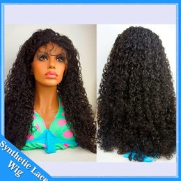 Wholesale High Quality Cosplay Wigs - Synthetic curly lace front wig afro kinky curly long synthetic wigs for black women synthetic wig high quality #1B 150% density cosplay wig