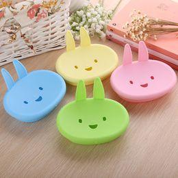 Wholesale Soap Rabbit - Cartoon Rabbit Soap Box Plastic Dishes Creative Storage Bath Tool Tray Drain Non-slip Soap Holder Bathroom Accessories