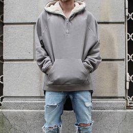Wholesale Mens Zip Coats - Wholesale- KMO dropshipping streetwear hip hop half zip split up sherpa hoodie fleece jacket latex fur coats designer mens brand clothing