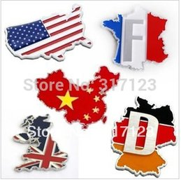 Wholesale Vinyl Films China - badge picture (50 pieces  LOT) New America Britain France Germany China National flag sticker decals Metal Emblems badges Car styling