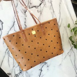 Wholesale Brown Leather Bag Sale - 2017 new fashion hot sale woman female lady letter leather Mc pattern totes shopping bag big handbag with small bag inside