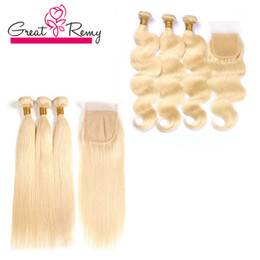 Wholesale Remy Wavy Honey Blonde - Honey Blonde 613 Human Hair Weave Indian Wavy and Wet Body Wave 3pcs Virgin Hair Bundles with 613 Closure Greatremy Factory Customizable