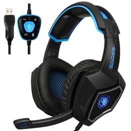 Wholesale High Quality Usb Headset - SADES Spirit Wolf 7.1 sound Stereo USB Gaming Headphones for computer Headset with Mic Noise cancelling Led lights High quality