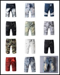 Wholesale Stripe Denim Shorts - Classic Shorts Men Biker Jeans Fashion Designer Brand Religions Pants Men's Skinny Short Denim Jeans Robin Shorts for Mens Cotton Jean Boy