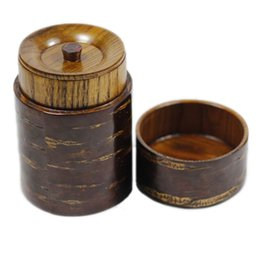 Wholesale Candy Canisters - New Arrival Handmade Cherry Wood Tea Canister Tea Storage Jar Candy Boxes Travel Portable Japanese Organizer