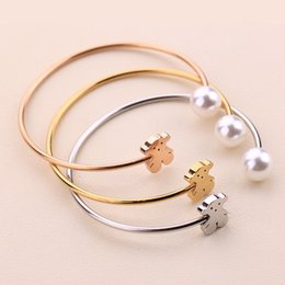 Wholesale gold open cuff bracelet - New arrivals Cute Animals Bears Pearls Charms Open cuff Bangle Bracelet Women Jewelry High Quality Stainless Steel 18K Gold Silver 1pcs