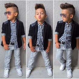 Wholesale New Boys Down Clothing - new spring boys beautiful jeans wear clothes kids suits children boys jacket plaid shirt denim pants 3pcs Clothing Set
