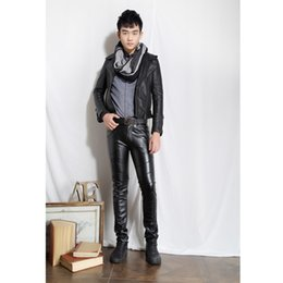 Wholesale Leather Pants 36 Men - Wholesale- New Fashion Mens Faux PU Leather Skinny Pants Novelty Biker Trousers Nightclub College Party Pant size 28-36