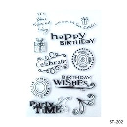 Wholesale Rubber Stamps Set - Wholesale- Happy Birthday Design Silicone Transparent Stamp Clear Stamps Set for DIY Scrapbooking Photo Album Decoration Supplies