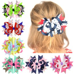 Wholesale Cartoon Ribbon Hair Clips - 6colors Girls colorful Grosgrain Ribbon Bow Hairpins cartoon print Bows Clips Childrens Hair Accessories for Baby and big kids