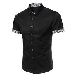 Argentina Camisa de hombre Marca de diseñador 2017 Camisas de manga corta masculinas Casual Slim Fit camisas de vestir negras para hombre hawaiano M ~ 4XL Suministro