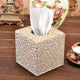 Wholesale Gold Tissue Paper Wholesale - Wholesale- High quality Modern Square PU Leather Gold Flower Tissue box Covers Roll Paper Napkin Towel Holders canister dispenser