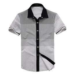 Wholesale Wholesale Plaid Shirts For Men - Wholesale- DEE MOONLY Men's brand shirts short sleeve stripes button down causal shirt men business shirts for men 100% cotton
