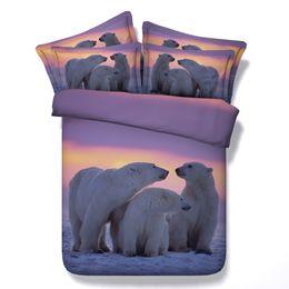 Wholesale Polar Pillow - 3 Styles Sunset Polar Bear Fashion Design 3D Printed Bedding Set Twin Full Queen King Size Duvet Covers Pillow Sham Comforter Animal 3 4 PCS