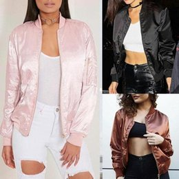 Wholesale Ladies Zip Jacket - Retail and wholesale 2017 New Women Ladies Classic Casual Bomber Jacket Vintage Zip Up Biker Outwear Size S-2XL CL185
