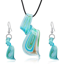 Wholesale lampwork glass pendant earring sets - Glass Necklace Earring Jewelry Set Top Fashion Trendy Jewelry Sets Lampwork Glass Murano Pendant Necklace Earrings Set Free Shipping
