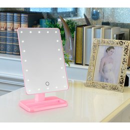 Wholesale Wholesale Lighted Vanity Mirror - Hot 20 LED Touch Screen Makeup Mirror Professional Vanity Mirror Lights Health Beauty Adjustable Countertop 360 Rotating Makeup Tool