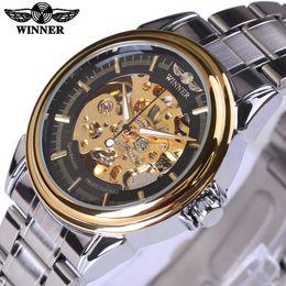 Wholesale Steampunk Watches Men - Winner Mechanical Watch Men Top Brand Hollow Skeleton Automatic Mechanical Watch Men Steampunk Steel Gear Watch Erkek Saat