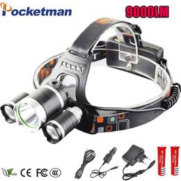 Wholesale Waterproof Diving Torch - LED Headlight 9000 Lumens Headlamp Cree Xml T6 Headlights Lantern 4 Mode Waterproof Front Torch Head 18650 Rechargeable Battery