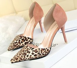 Wholesale Pink Leopard Print Shoes - 5colors 2017 Mixed Colors Women Sexy Leopard Pattern Pointed Toe Sandals Shallow Thin Heels Party Shoes Fashion Women's High Heels Shoes