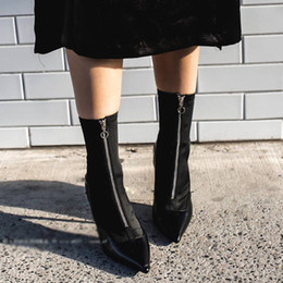 Wholesale Zip Socks - 2017 Zip Stretch Sock Leather Patchwork Ankle Boots Sexy Elastic Short Boots Woman Pointed Toe High Heel Stiletto Women Botas