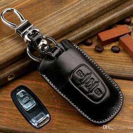 Wholesale Key Covers For Audi A6 - Genuine Leather Key Fob Cover Case for Audi Q5 A4 A5 A8 S5 A6 Key Holder Wallets Bag Key Chain Accessories