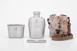 Wholesale Pounds Cups - Keith Ti3060 Titanium Army Military Water Bottle Cup Pot Canteen Mess Kit set 268g 1.7L+0.7L w  Camo Bag