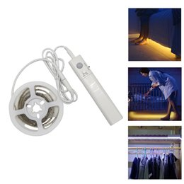 Wholesale Pir Motion Activated - 2835 SMD PIR Bed Strip Led Motion Activated Night Light Flexible LED Strip Sensor Automatic Bed Light DC 6V 1m Warm white
