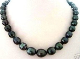 "Wholesale Rice Plants - NATURAL 8X9MM TAHITIAN RICE BLACK PEARL NECKLACE 18"" HU2084"