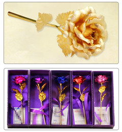Wholesale Colorful Rose Bouquet - 3pcs Gold-plated Rose with Little Bear Colorful Gold Foil Artificial Rose Bouquet Valentine's Day Girlfriend Birthday Gift K3