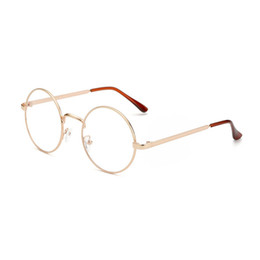 Wholesale Korean Retro Eyeglasses - Hot Selling Solid Alloy Korean Glasses Frame Retro Full Rim Gold Eyeglass Frame Vintage Spectacles Round Computer Glasses