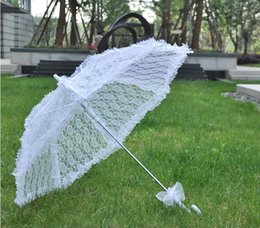 Wholesale White Lace Umbrella Wholesale - White lace Organza Parasol bride bride gorgeous umbrella Automatic umbrella wedding Party elegance unique decoration DT12
